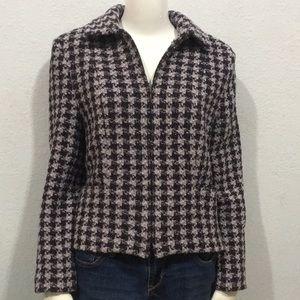 Amanda Smith Purple Tweed Zip Up Jacket Size 12